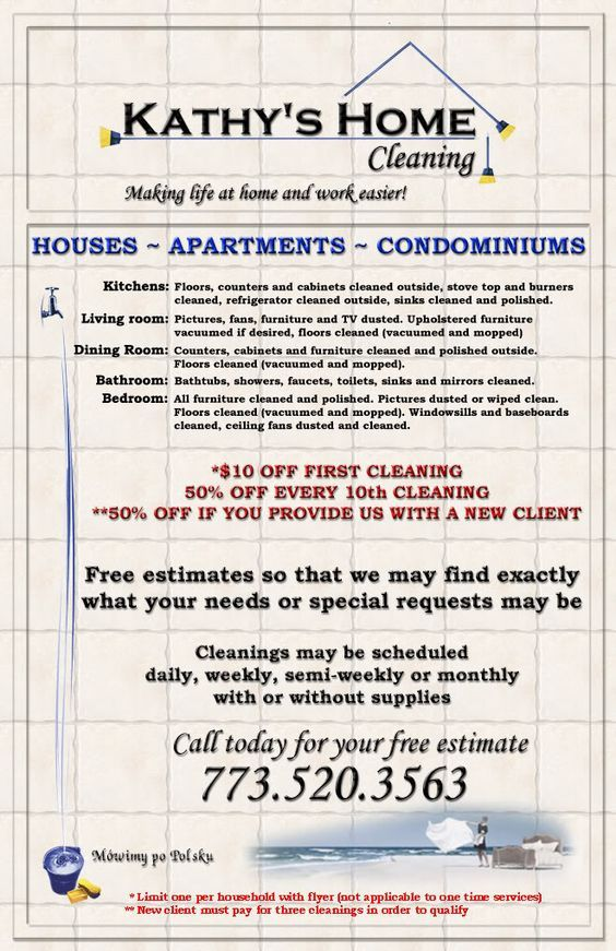 Kathys Home Cleaning Flyer Cleaning Pinterest