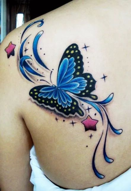 Photo of US $9.74 15% OFF|2pcs/lot colorful Flower Star Butterfly big large 3D Temporary tattoo stickers warterproof for women back body free shipping-in Temporary Tattoos from Beauty & Health on AliExpress