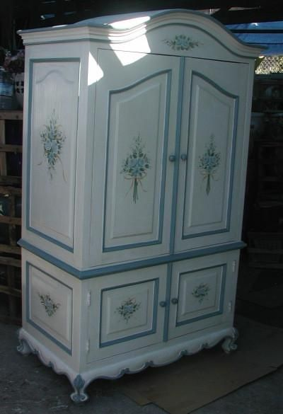 Blue Roses And Ribbon Armoire