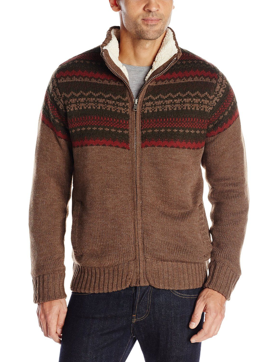 Field Stream Mens Sherpa Lined Sweater Clothes Shoes