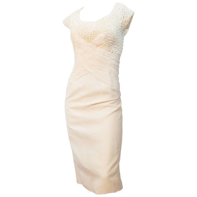 1stdibs 60s Cream Silk Rouched Bodice Sheath Dress White