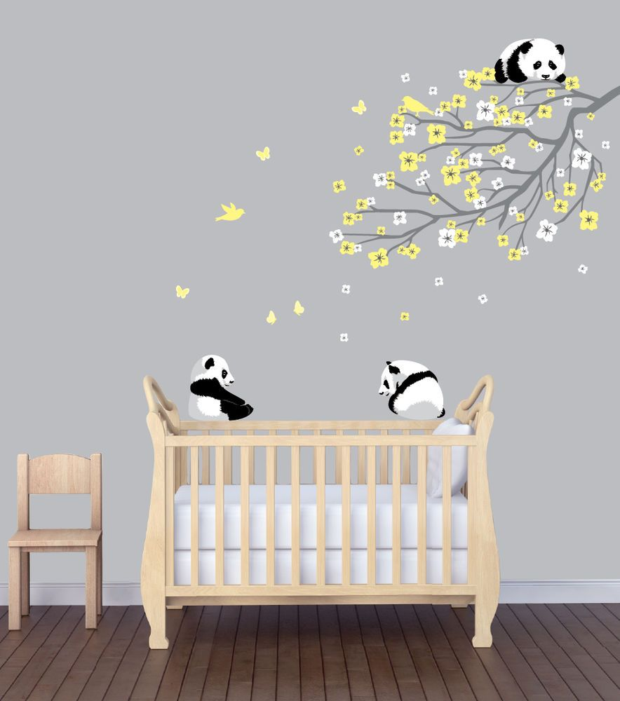 Flower Branch Panda Nursery Sticker Animal Wall Art Flower Wall