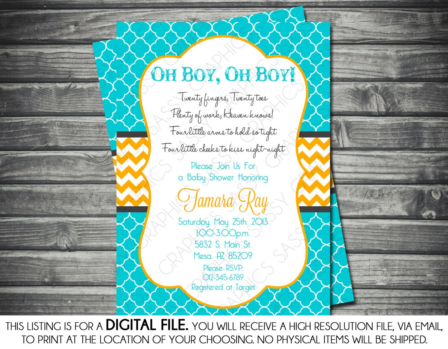 Twin Baby Shower Invitation - Baby Boys It\'s Twins Chevron Turquoise ...