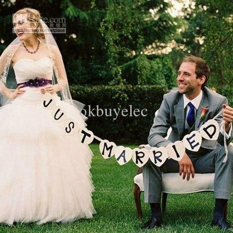 Wholesale Wedding Decorations - Buy Heart JUST MARRIED Wedding Banner Photo Booth Props Photobooth Wedding Reception Party Supply, $9.99 | DHgate