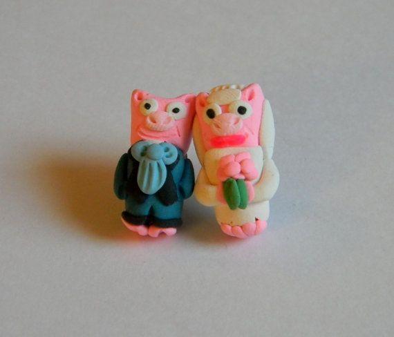Bride and Groom cochon mariage boucles par SammysBeadworks sur Etsy, $28.00