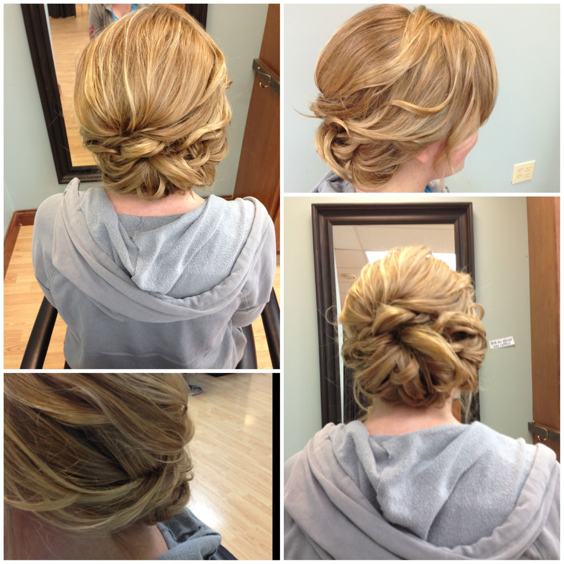 Low loose romantic updo for wedding prom event events