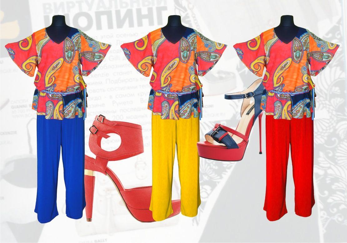 695755e2c98 55  Летний брючный костюм для полных женщин  блузка свободного покроя из  штапеля с рукавами