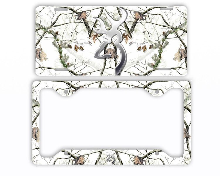 Browning Buck Head Deer Snow White Camo License Plate Frame Car Tag ...