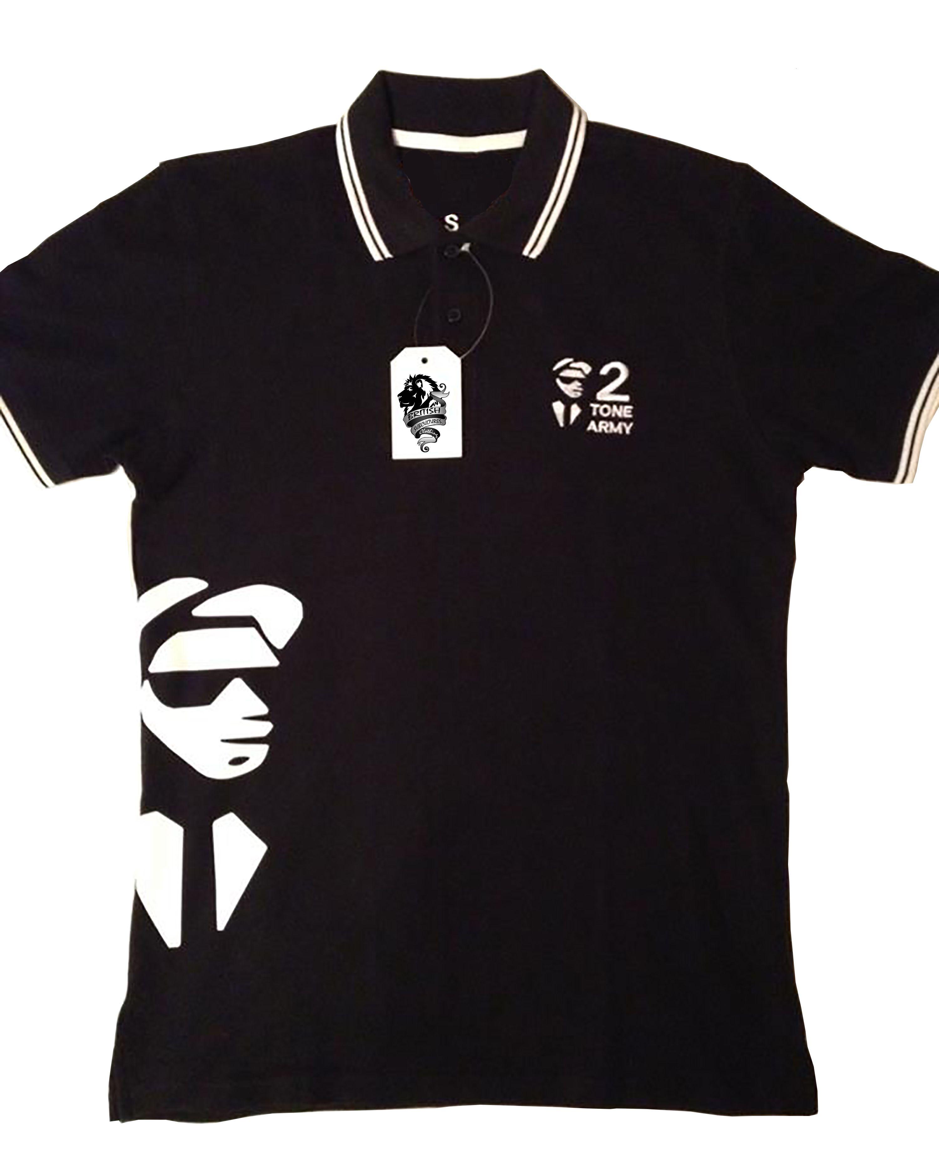 2 Tone Army Embroidered Printed Polo Shirt Ska Clothing Shirts