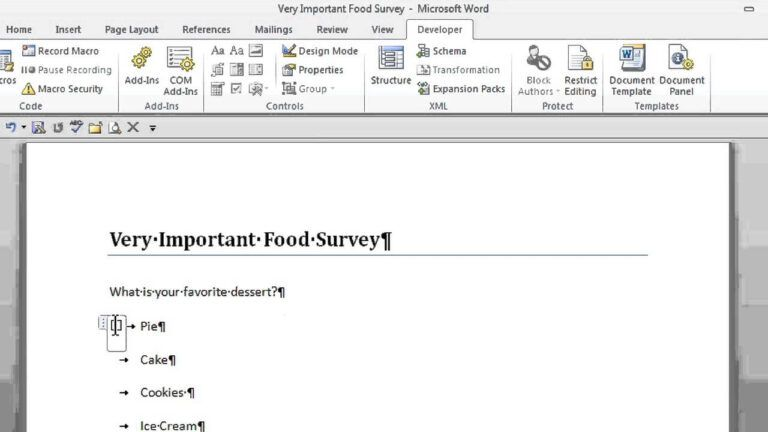 How To Create A Survey With Radio Buttons In Microsoft Word Office Software Help Regarding Button Teacher Plan Book Template Plan Book Template Word Template