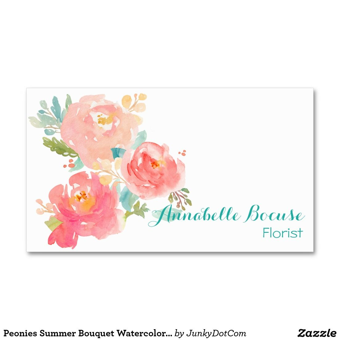 Peonies Summer Bouquet Watercolor Pastel Double-Sided Standard Business Card - July 27 - 2x