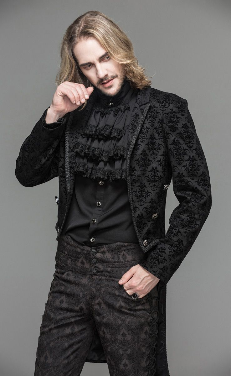 Baroque pattern black jacket with embroidery, elegant ...