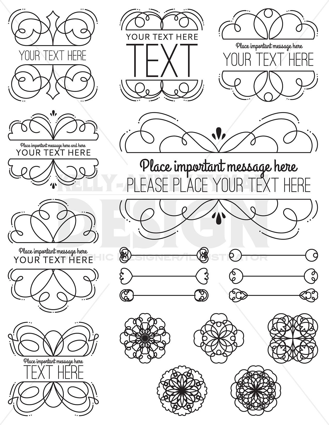 Swirl Digital Frames Clipart Digital Labels Clip Art Set
