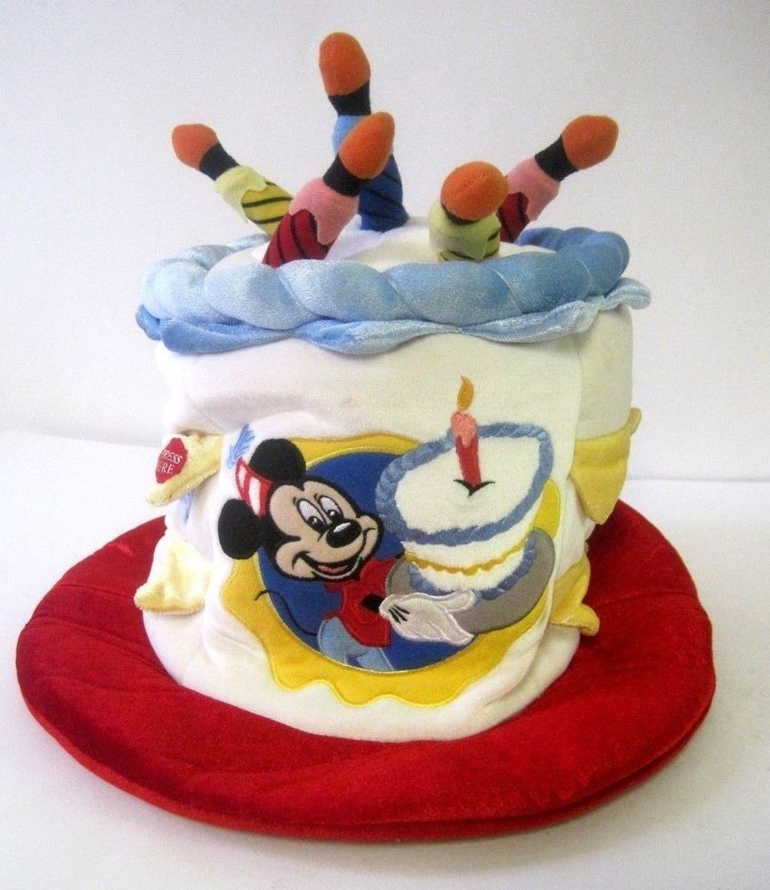 Disney Mickey Plush Happy Birthday Cake Hat Light Up Candles Size Adult