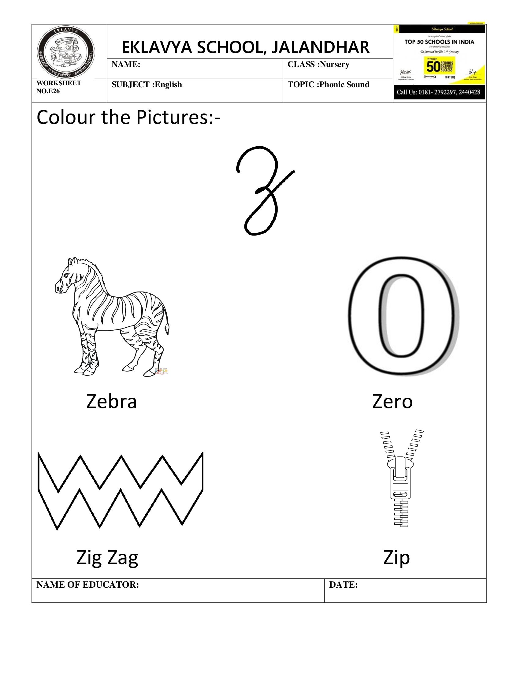 Worksheet On Phonic Sound Z