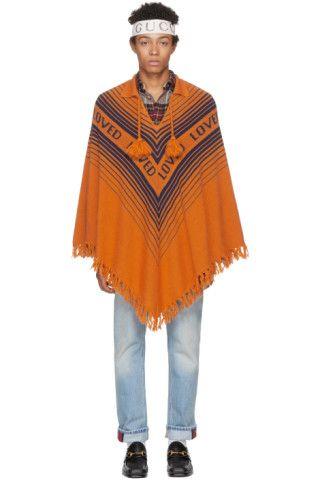 569bbd34c Gucci: Orange & Blue 'Loved' Poncho   SSENSE   Stupid Fashion   Wool ...