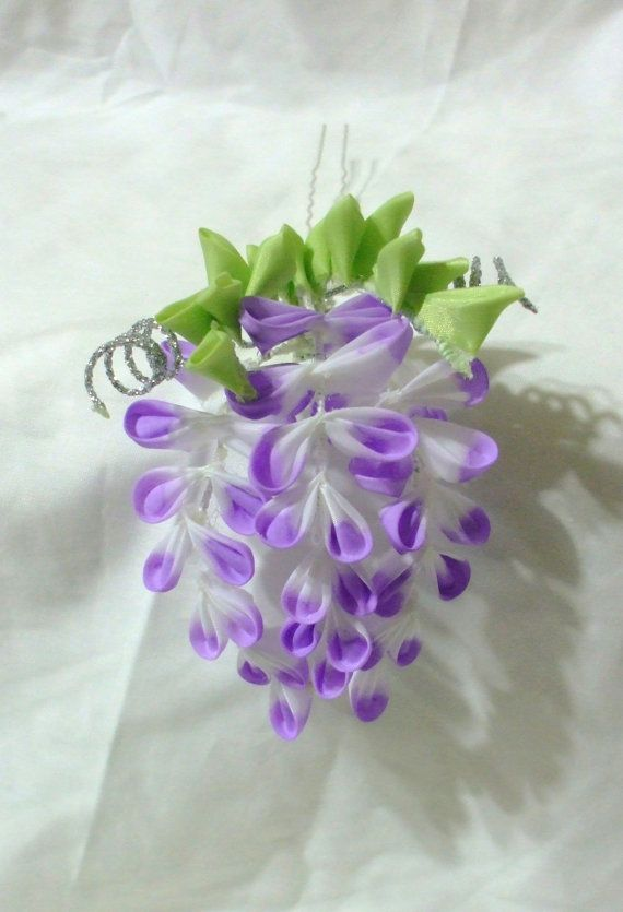 mini purple wisteria kanzashi by ImlothMelui on Etsy, $35.00