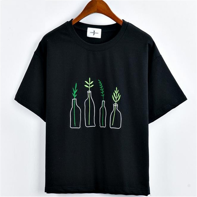China Clothing Suppliers Online Green Plant Embroidered T Shirt In 2020 Aesthetic Shirts
