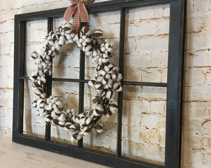 Old Window Frame Decor With Cotton Wreath Antique Window