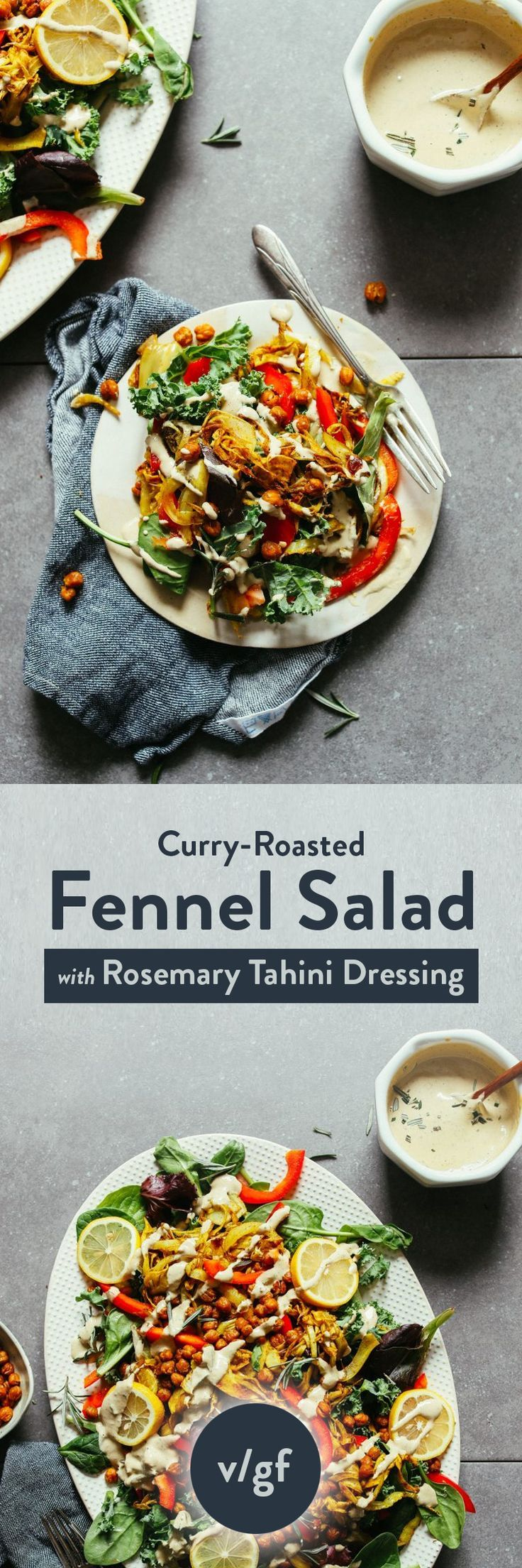 Curry Roasted Fennel Salad With Rosemary Tahini Dressing