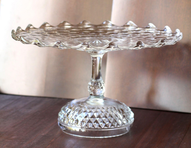 Wedding Cake Stand 14 Vintage Pedestal Plate Crystal