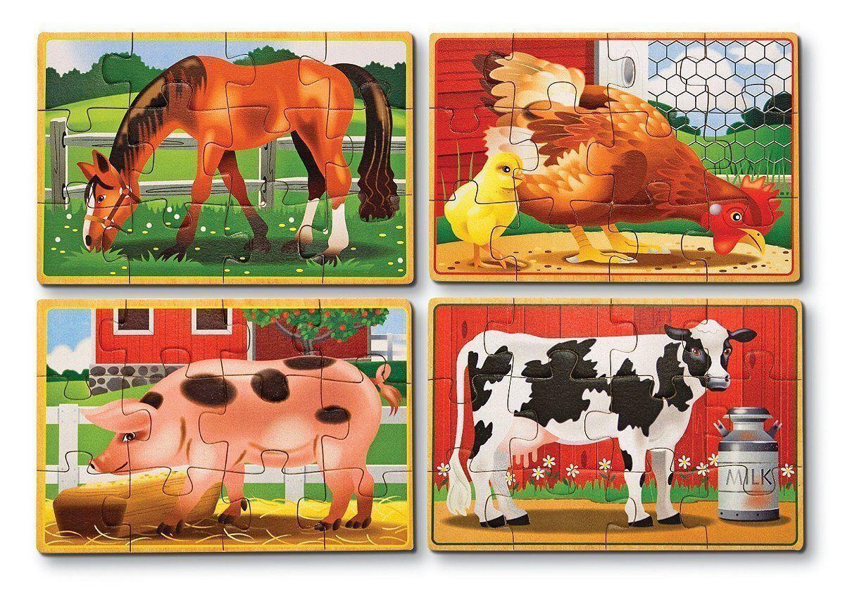 24 pcs Melissa /& Doug African Plains Safari Wooden Jigsaw Puzzle with Storage Tray