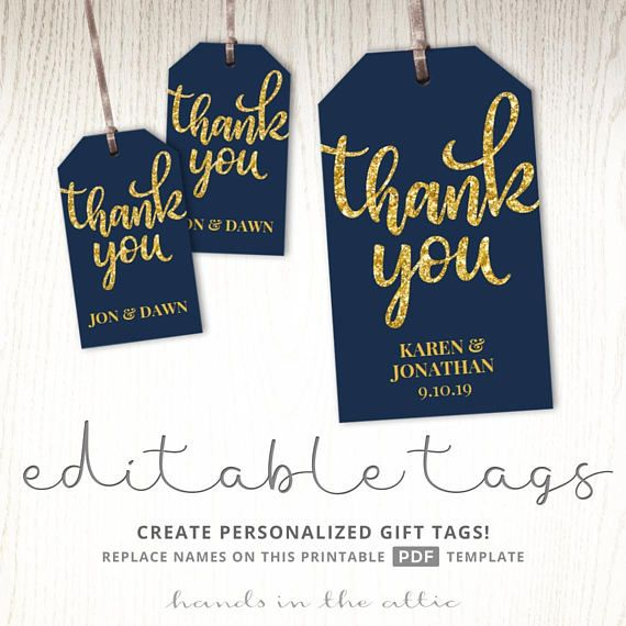 Thank you tags gift labels navy and gold wedding favor printable