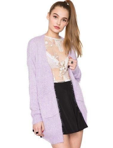 3fc7cadfd3 Lilac Fuzzy Cardigan - Pastel Sweater - Cute Fluffy Knit- 42