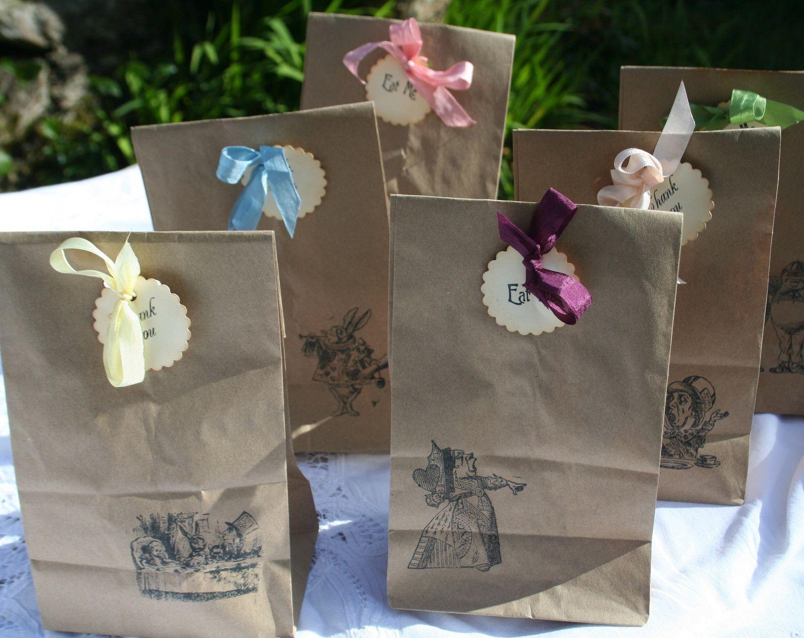 6 ALICE IN WONDERLAND PARTY BAGS-Vintage Style-Tea Party-Wedding ...