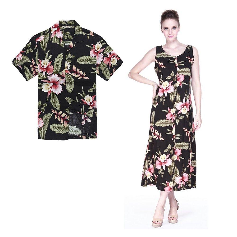 c8286b03 Couple Matching Men Shirt and Women Maxi Indigo Dresses in Black Rafelsia