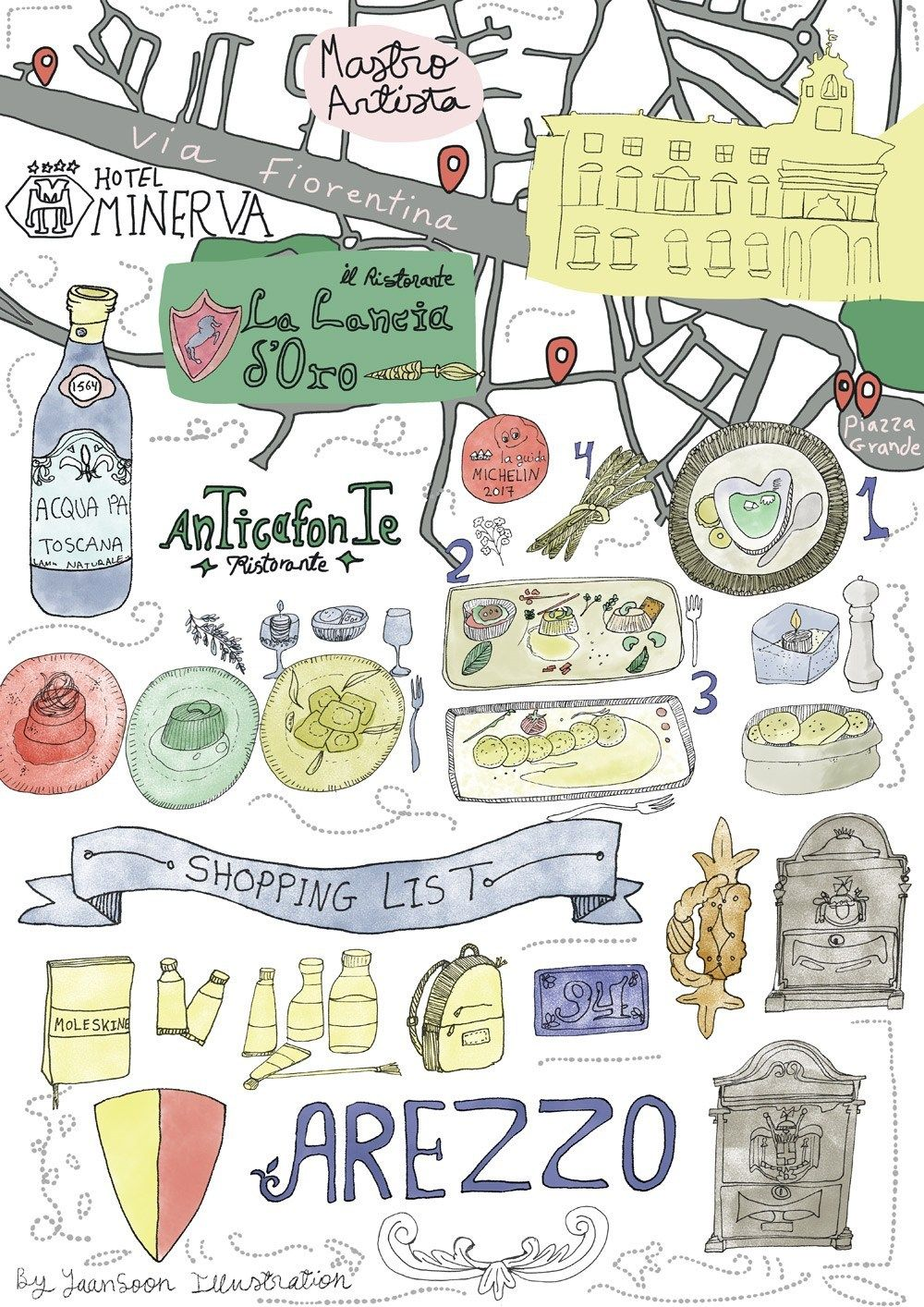 Photo of Italy Culinary Tour: Illustrated Food Map of Arezzo in Tuscany | Travel Illustration & Illustrated Map | Yaansoon Illustration + Art