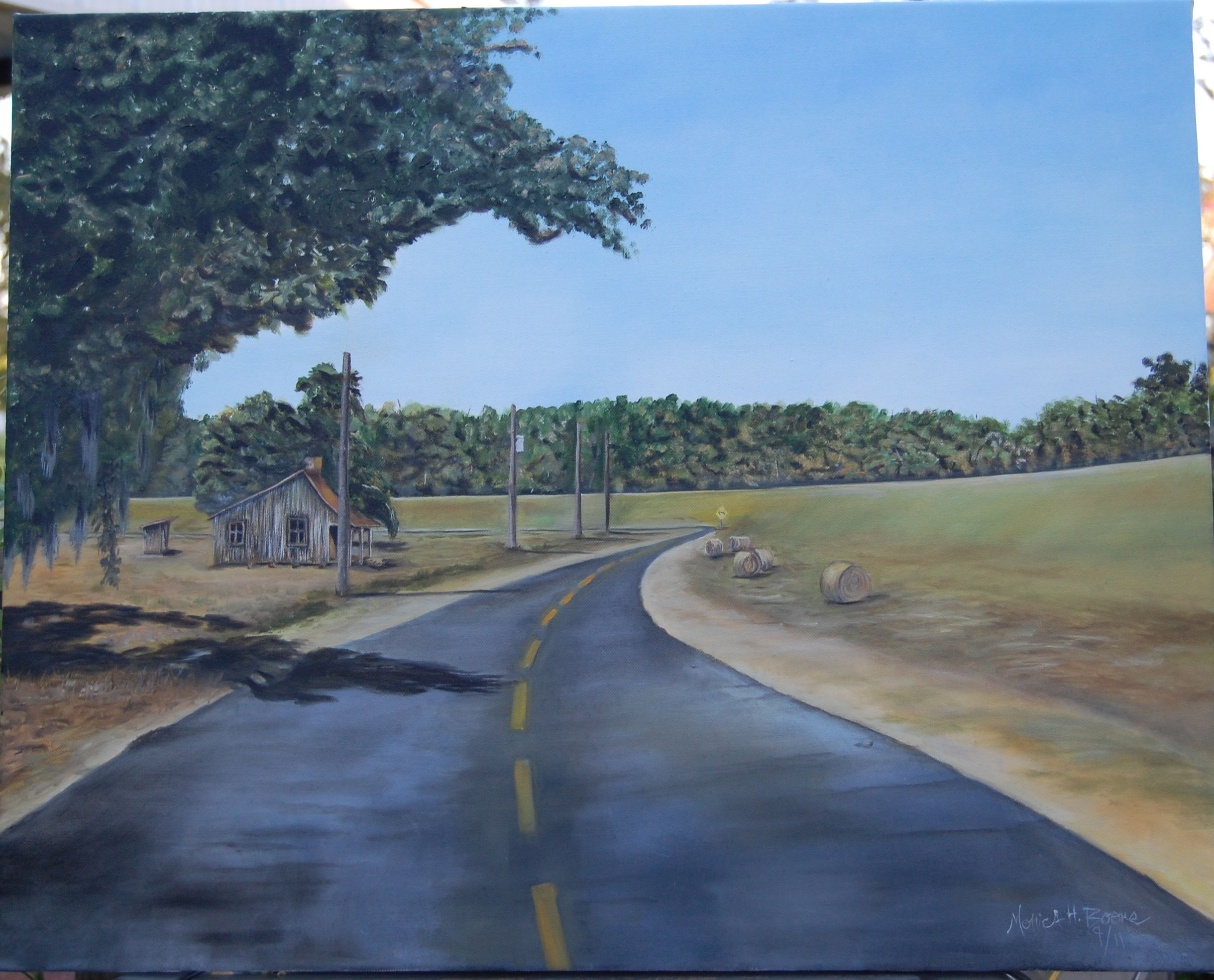 Hwy 418 Near Keller S Lake Lettsworth La Oil Painting By Monica H Boone Art Studios My Arts Oil Painting