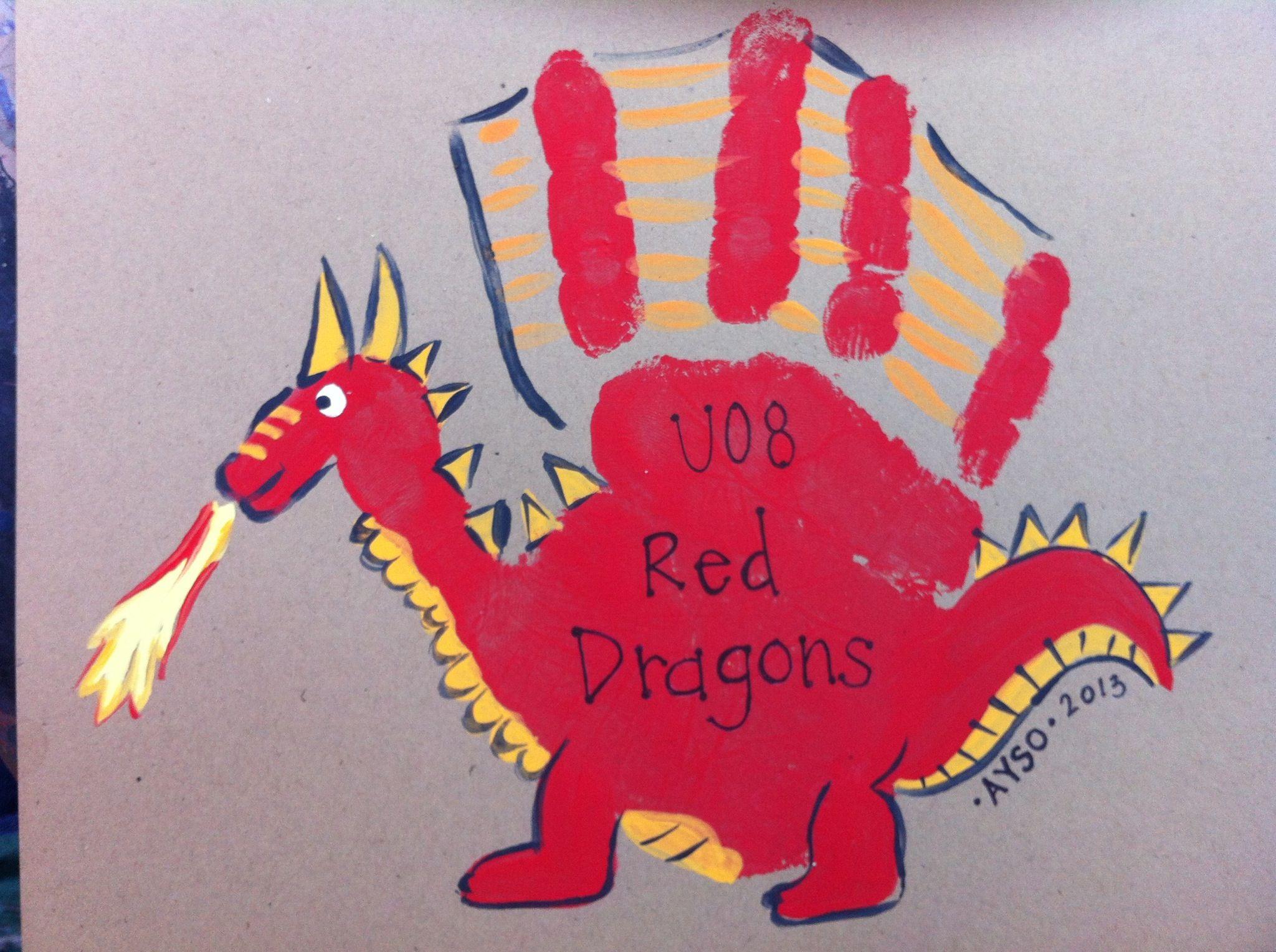 Handprint Dragon Dragon Crafts Handprint Art