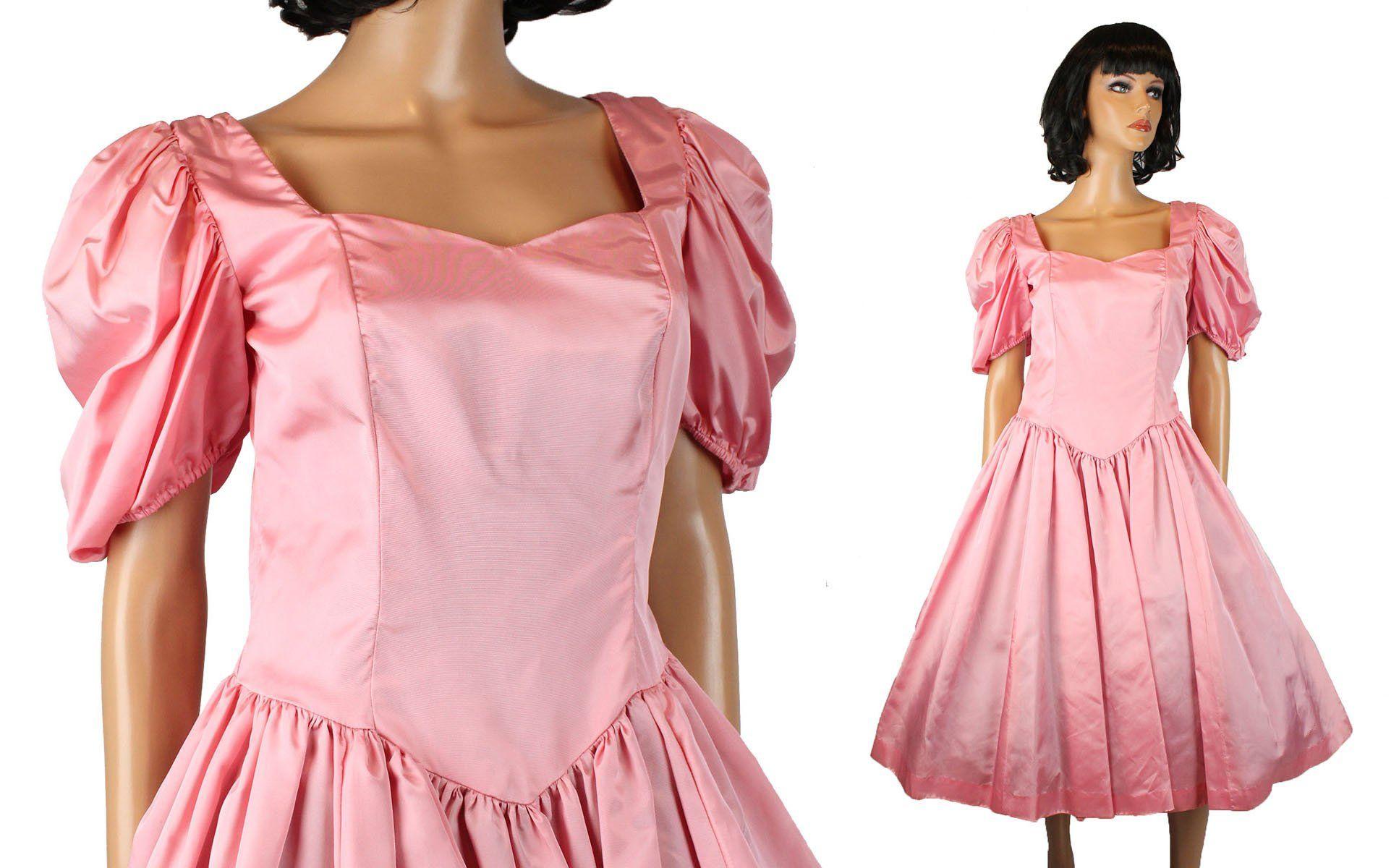 S prom dress sz m vintage bubblegum pink taffeta short sleeve