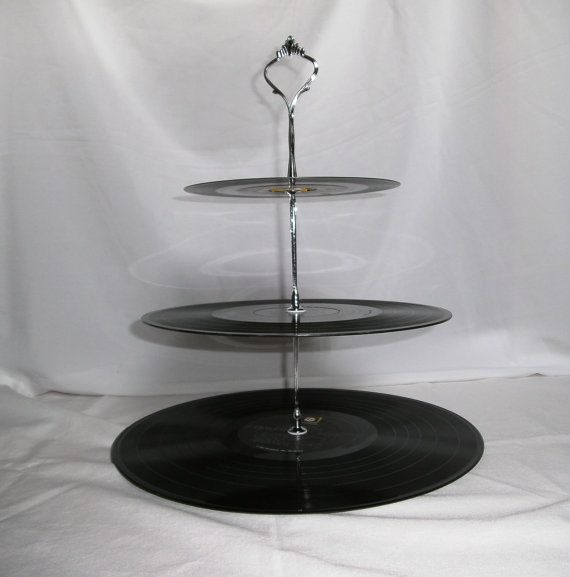 3 Tier Record Album Cupcake Stand - ROLLING STONES + AEROSMITH - Recycled