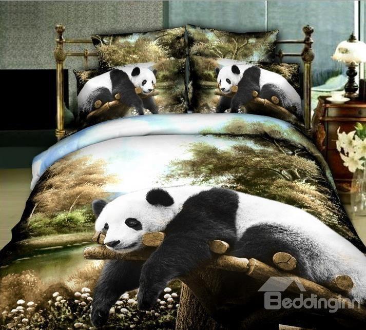 Panda Comforter Set Animal Print Bedding Panda Queen Size Duvet Covers