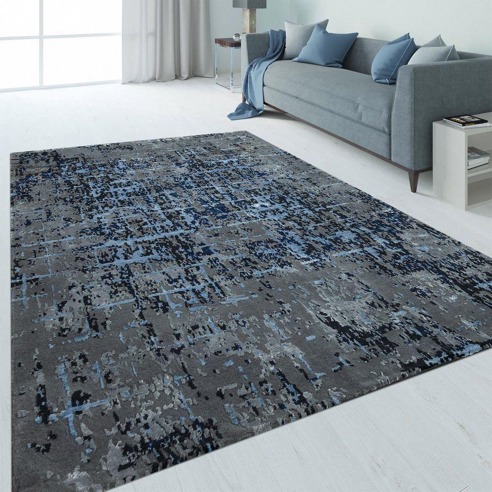 Handgeknoteter Teppich Abstrakt Blau Abstrakt Webteppich Und