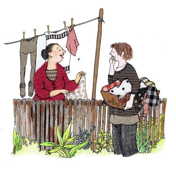 GOSSIP A Lovely Friendly Funny Card Two Neighbours Have Gossipy Chat Whilst Hanging Out Their Washing