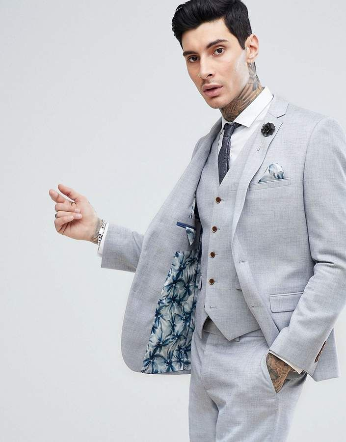 2da78f409cd6 Harry Brown Stretch Linen Wedding Pale Blue Slim Fit Suit Jacket in ...
