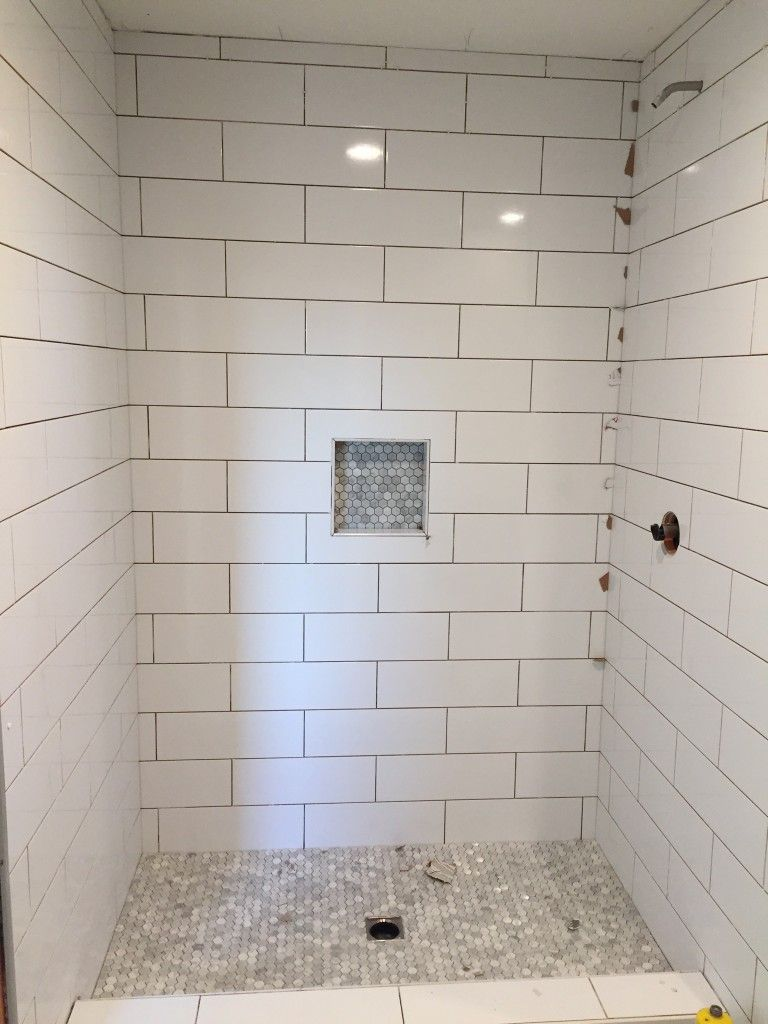 Large subway tile with mosiac shower pan and niche house remodel large subway tile with mosiac shower pan and niche dailygadgetfo Choice Image