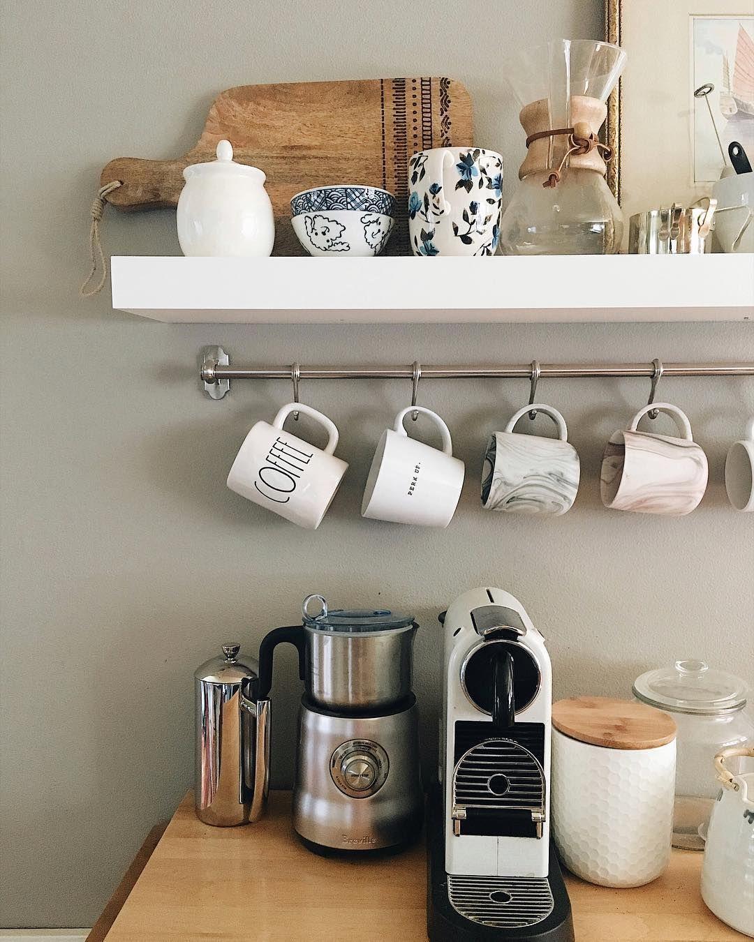 Coffee Station With Mug Hooks Open Kitchen Shelves Modern Kitchen Apartment Open Shelving