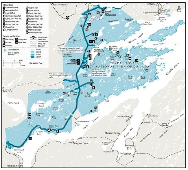 Map of Terra Nova National Park of Canada Newfoundland and