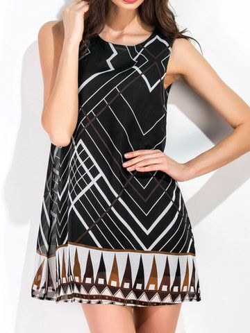 Geometry Print Sleeveless O Neck A Line Women Dresses is cheap sale on newchic, pick chiffion dresses and show your beauty now Mobile.