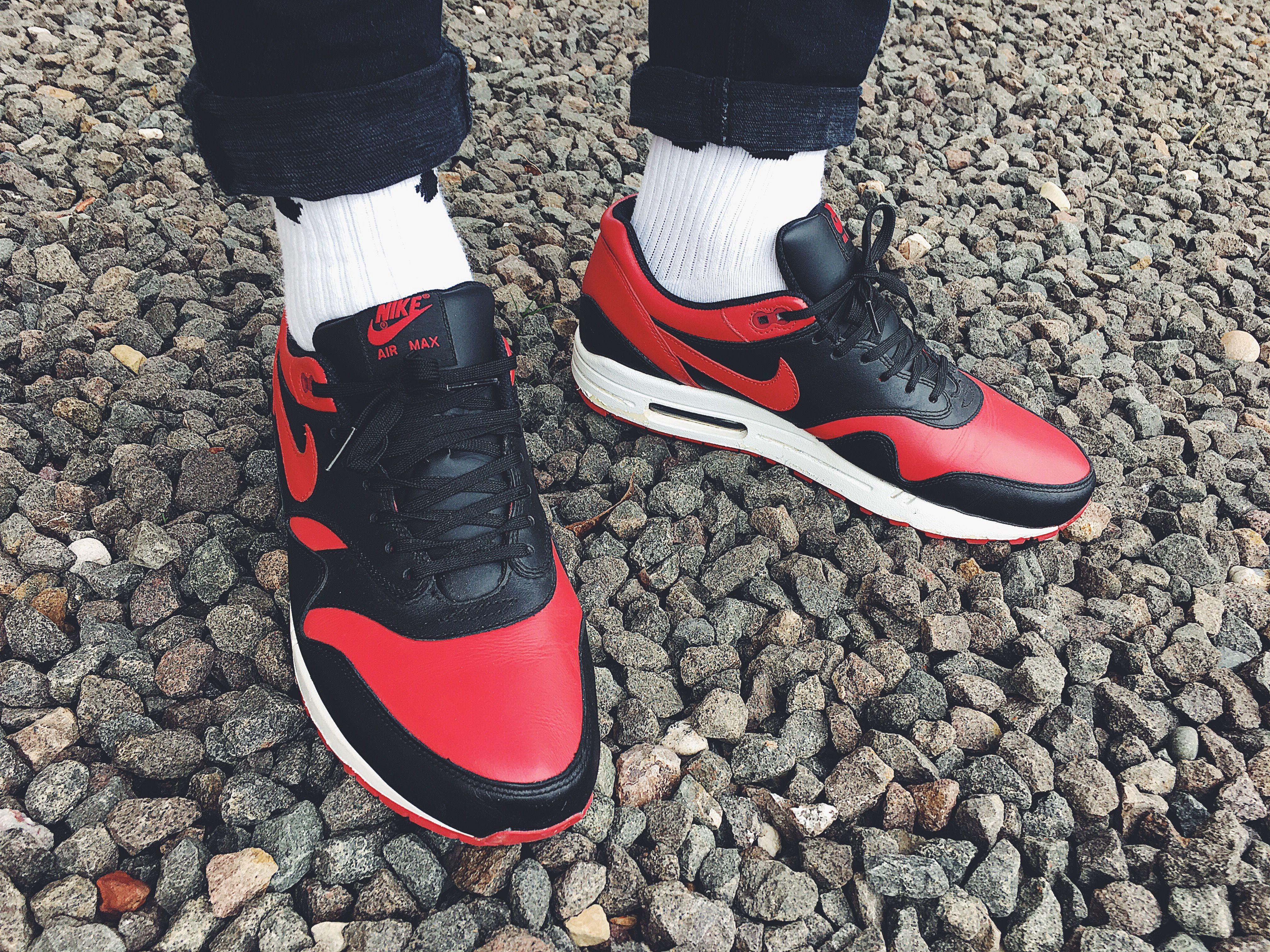 """watch d2b2e d69fa Nike Air Max 1 Bred PRM QS """"Valentines"""" on feet"""