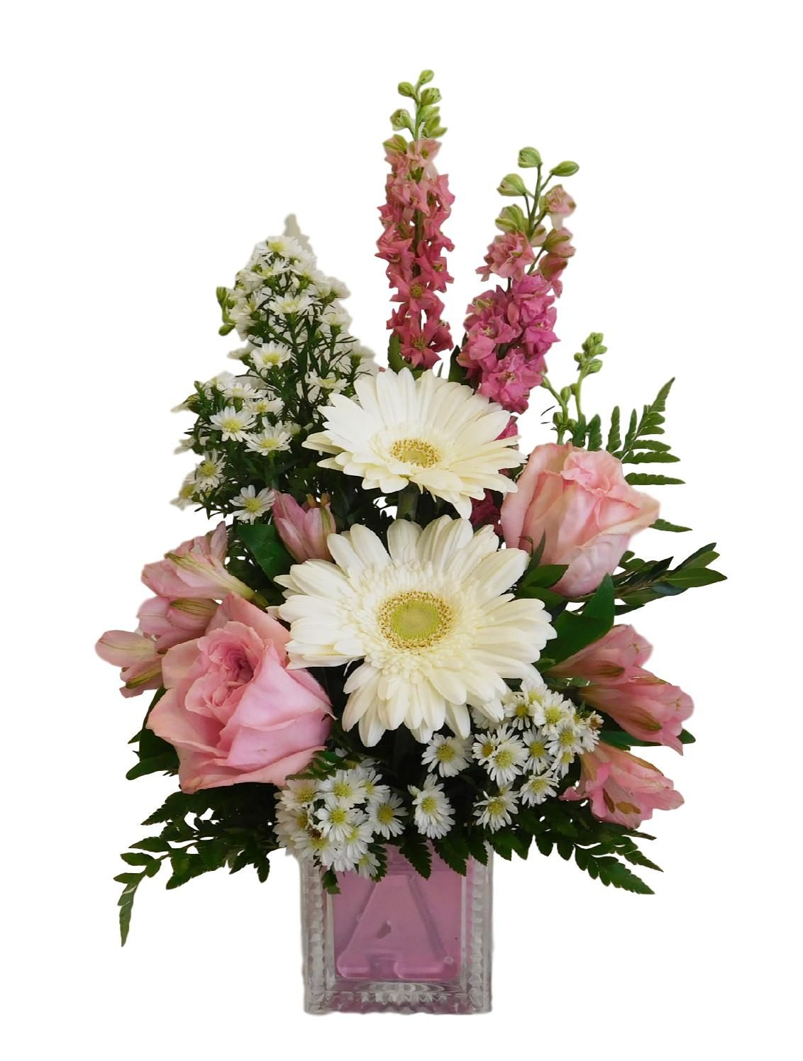 Baby Girl Block Flower arrangements, Flower delivery