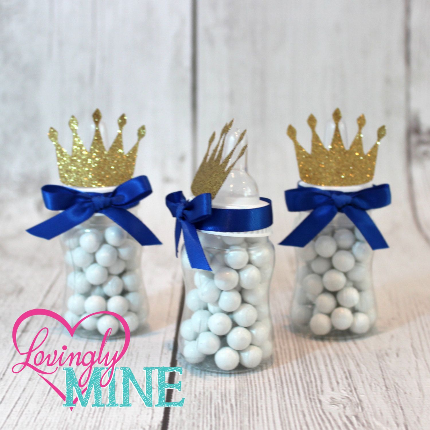 Little Prince Baby Bottle Favors in Royal Blue & Glitter Gold | Sold ...