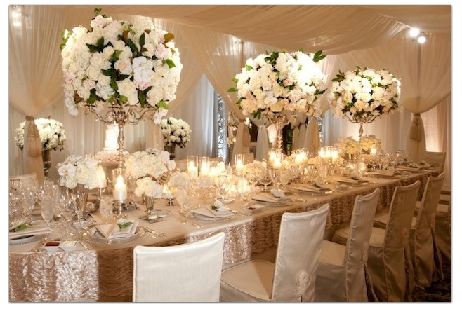 sequin table cloth rental - Google Search   Flower centerpieces ...