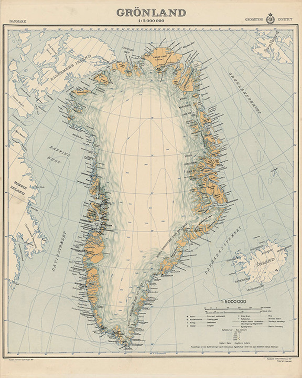 Map of Greenland, Grønland. 1937 Restoration Hardware Home Deco Style Oil Painting Reprint.