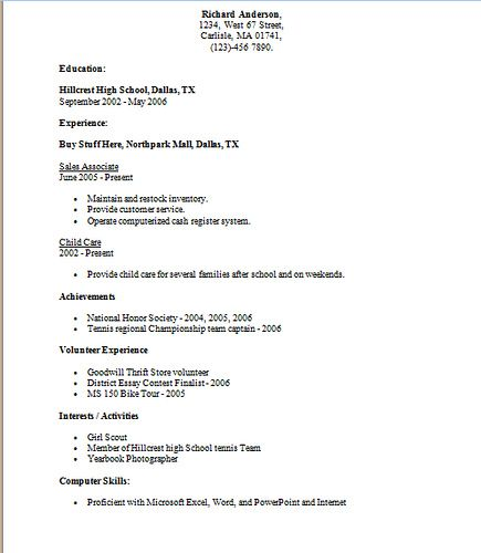 Resume Samples For High School Students Flickr Photo Sharing - resumes for high school graduates