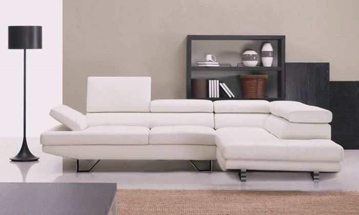 American Design Top Grain Leather Solid Wood Frame, Simple White Leather  Sofa With Couch